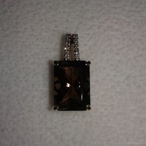 Jewelry - 10K Solid YG 6.75ct Smoky Quartz & Diamond Pendant